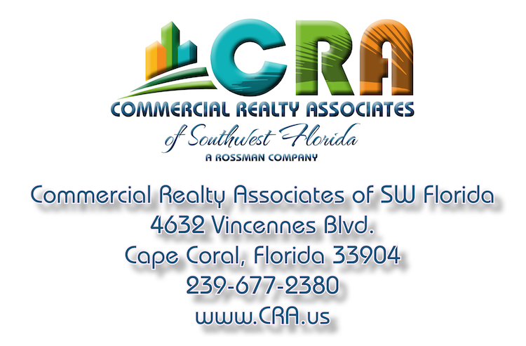 Commercial Realty Associates of Southwest Florida is a full-service brokerage firm whose practice is limited to the acquisition, sale, trade, and analysis of commercial real estate. Business entities associated with brokered properties are thoroughly analyzed, and represented as well. The firm is licensed by the State of Florida under certificate number CQ1040326. All of the firm's Principals and most of its Associates are Florida Licensed Real Estate Brokers. The Managing Partner is designated by the CCIM Institute as a Certified Commercial Investment Member and is also the holder of a Florida Real Estate Instructor's License. Each of the Brokers and Licensed Associates in the firm has no fewer than ten years of active, full-time experience in the profession.